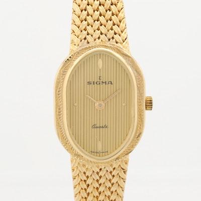 Sigma Yellow Tone Quartz Wristwatch