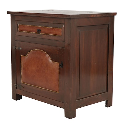 Hacienda Style Leather Upholstered Vanity Cabinet, Contemporary