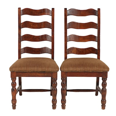 Pair of Stained-Wood Ladderback Dining Side Chairs