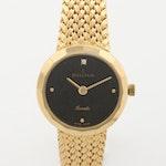 Sigma Yellow Tone Black Dial Quartz Wristwatch