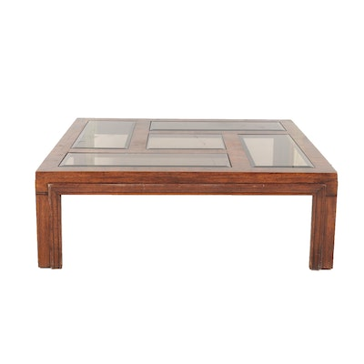 Mahogany-Stained Coffee Table with Glass-Paneled Top, Late 20th Century