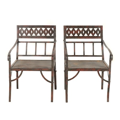 Pair of Contemporary Steel Patio Armchairs