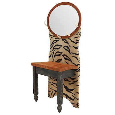 Contemporary Jungle Theme Painted Wooden Hall Tree with Mirror