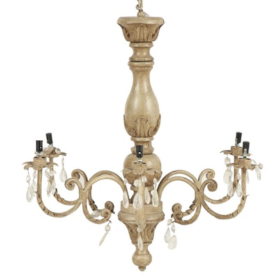 Neoclassical Style Metal and Wood Six-Light Chandelier