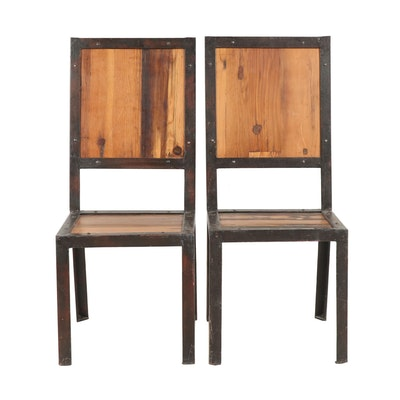Pair of Contemporary Steel and Wood Side Chairs
