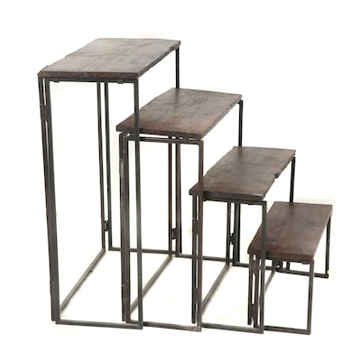 Industrial Style Folding Steel and Rustic Teak Wood Nesting Tables, Set of Four