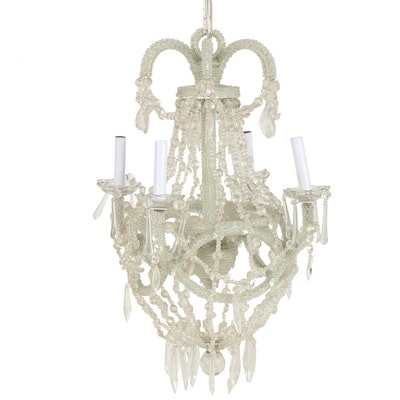 Beaded Four-Light Chandelier with Crystal Pendants