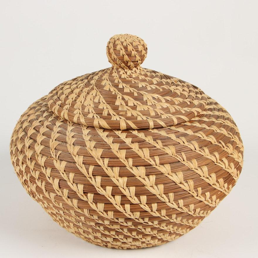 Handwoven Coil Sweetgrass Lidded Basket