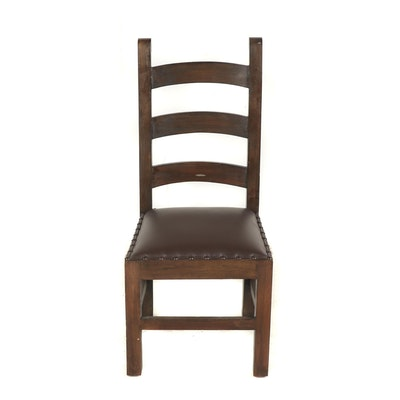 Contemporary Rustic Style Wooden Chair with Faux Leather Upholstery