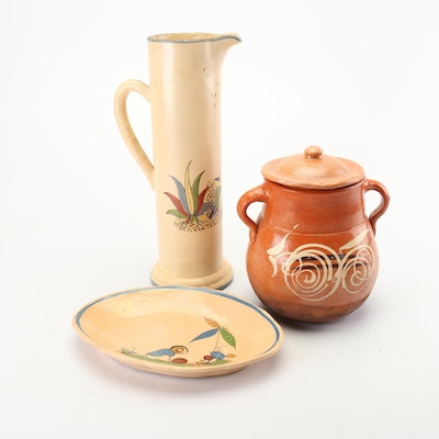 Tlaquepaque Style Mexican Earthenware Pottery Pitcher, Sugar Bowl and Tray