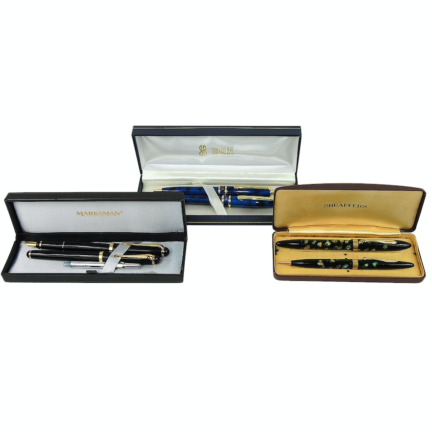 Ball Point, Fountain Pens and Pencil Sets Including Sheaffer and Marksman