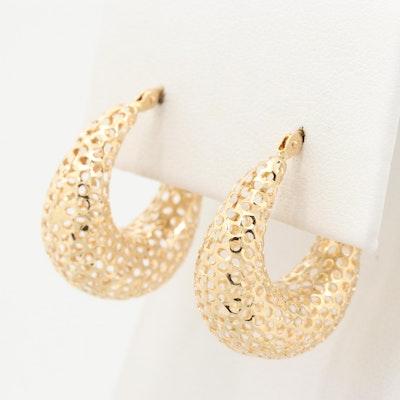 14K Yellow Gold Mesh Hoop Earrings