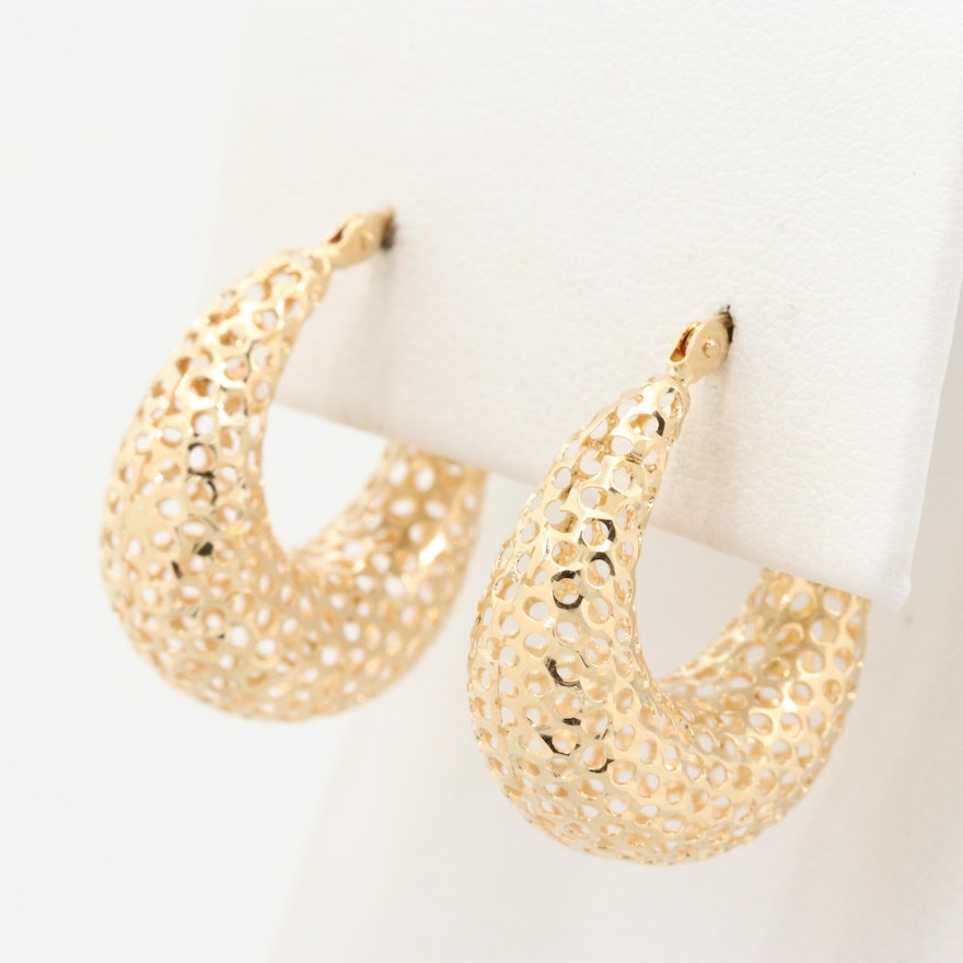 14K Yellow Gold Mesh Hoop Earrings