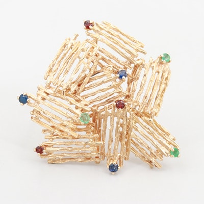 14K Yellow Gold Blue Sapphire, Emerald and Garnet Brooch
