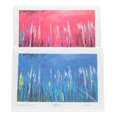 """Robert Lackney Giclee Prints """"Blue"""" and """"Magenta"""" from Series """"In the Weeds"""""""