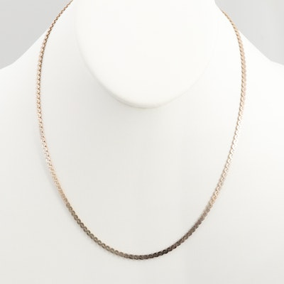 Sterling Silver Serpentine Style Chain Necklace