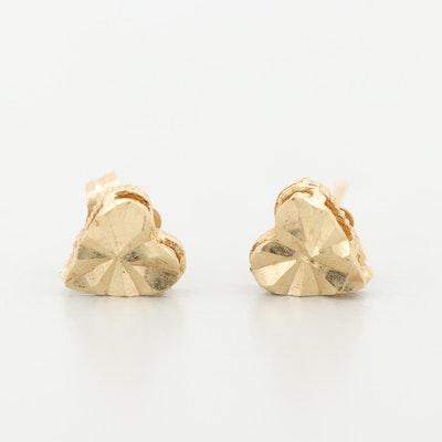 14K Yellow Gold Heart Stud Earrings