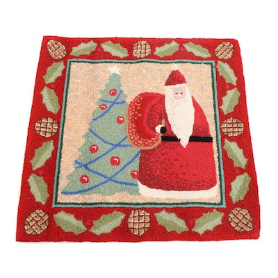Hand-Hooked Tufted Santa Claus Wool Rug