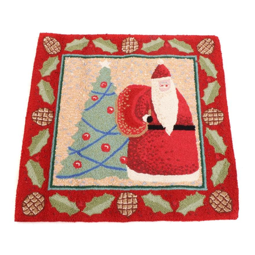 Hand-Hooked Tufted Santa Claus Wool Rug