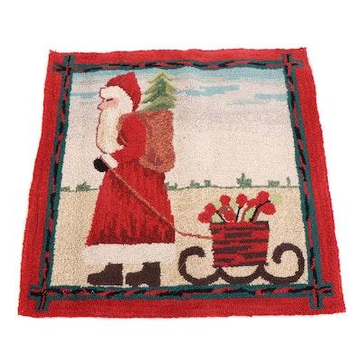 Hand-Hooked Santa Claus Wool Rug