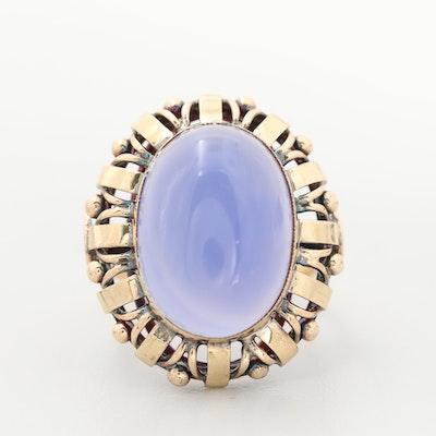 Circa 1910 14K Yellow Gold Blue Chalcedony Ring