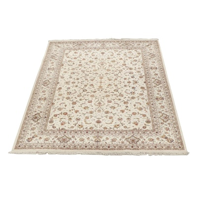 Hand-Knotted Pakistani Floral Wool Area Rug