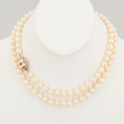 14K Yellow Gold Cultured Pearl and Ruby Necklace