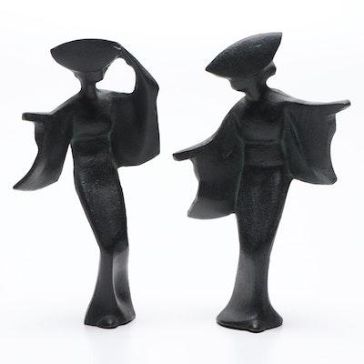 Cast Iron Japanese Figurines, Mid-Century