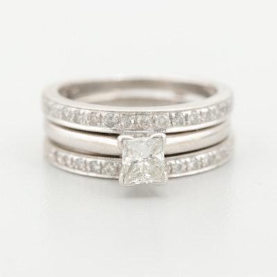 14K White Gold Diamond Solitaire and Enhancer Ring Set