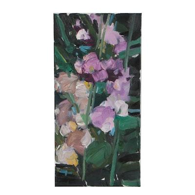 """Jose Trujillo 2019 Oil Painting """"Hollyhocks"""""""