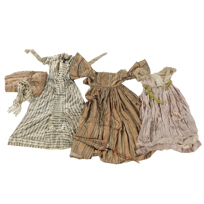 Blacklum Robe De Style Dress and Silk Dresses with Parasol, Early 20th Century