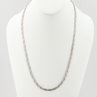 Sterling Silver Braided Herringbone Necklace