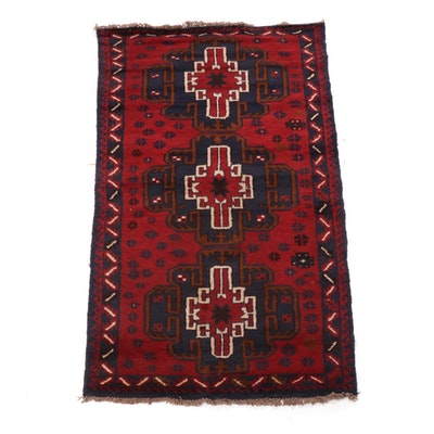 Hand-Knotted Afghan Taimani Baluch Wool Rug