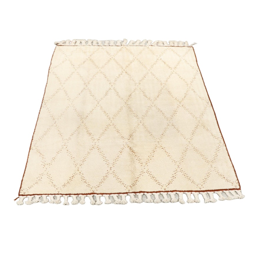 Hand-Knotted Moroccan Wool Rug