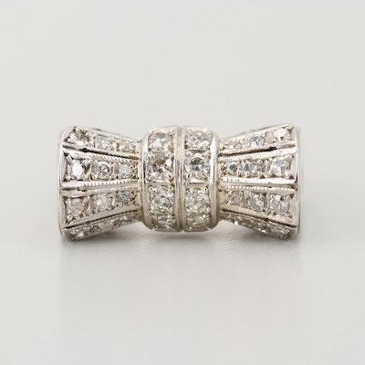 14K White Gold Diamond Bow Ring