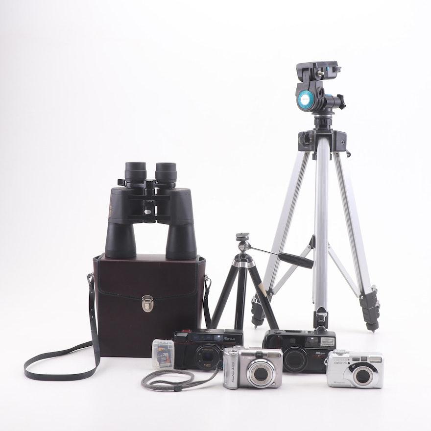 Nikon, Canon, Fuji, and Pentax Still Cameras, Binoculars and Tripods