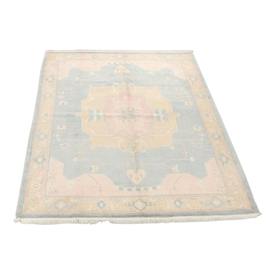 Hand-Knotted Nepalese Heriz Pattern Sculpted Wool Room Sized Rug