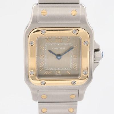 Cartier Santos Galbee Stainless Steel and 18K Gold Quartz Wristwatch