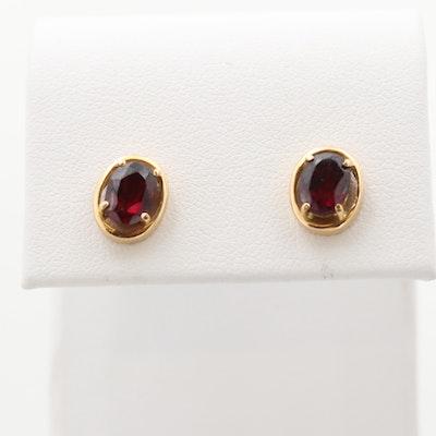 14K Yellow Gold Rhodolite Garnet Stud Earrings