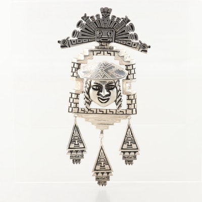 South American Style Sterling Silver Brooch