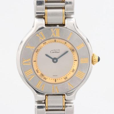 Cartier Must de Cartier 21 Stainless Steel and 18K Gold Quartz Wristwatch
