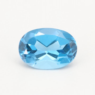 Loose 7.47 CT Blue Topaz Gemstone