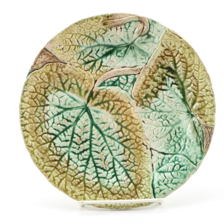 English Majolica Salad Plate with Leaf Motif, Circa 1880s