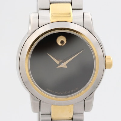 Movado Museum Black Dial Two Tone Stainless Steel Wristwatch