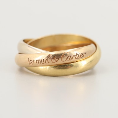 Vintage Les Must de Cartier 18K Gold Trinity Band