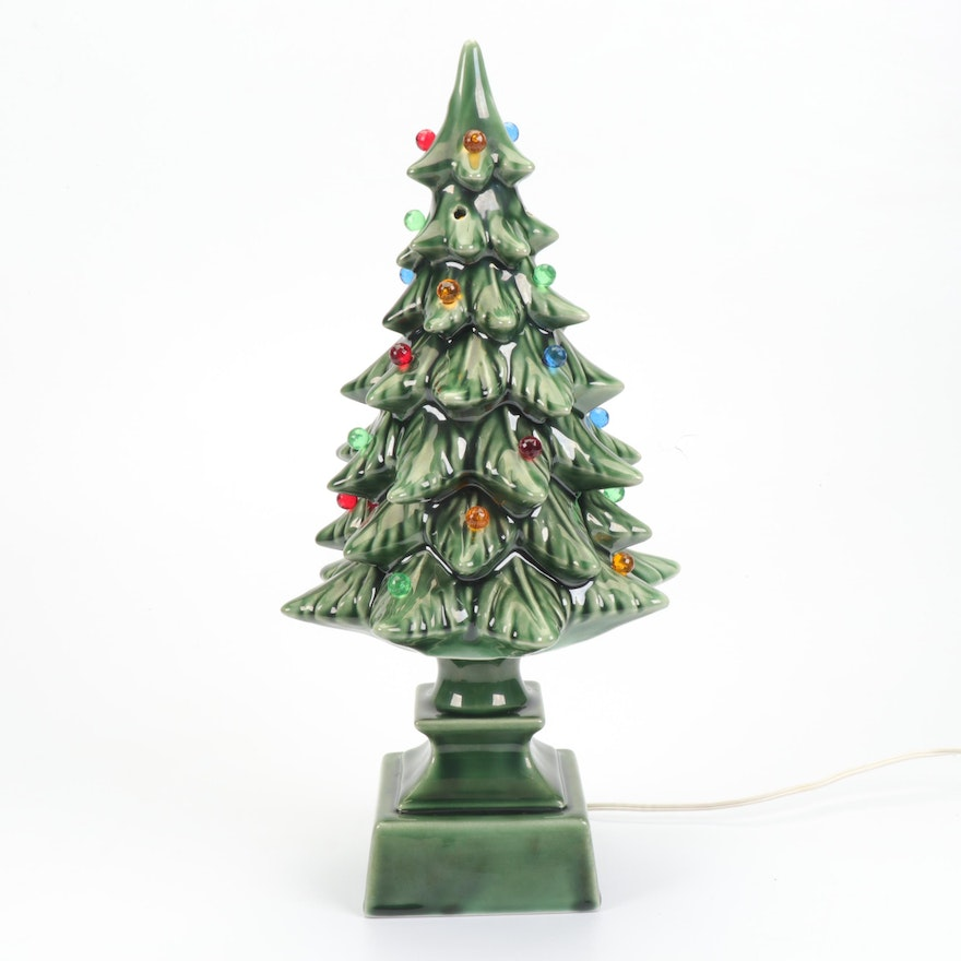 Ceramic Christmas Tree Lamp Vintage