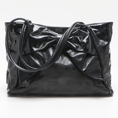 Valentino Garavani Black Patent Leather Betty Bow Tote Bag