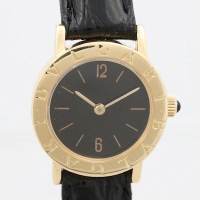Vintage Bulgari Bulgari 18K Yellow Gold Stem Wind Wristwatch, Circa 1975