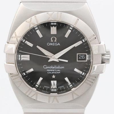 Omega Constellation Perpetual Calendar Stainless Steel Quartz Wristwatch