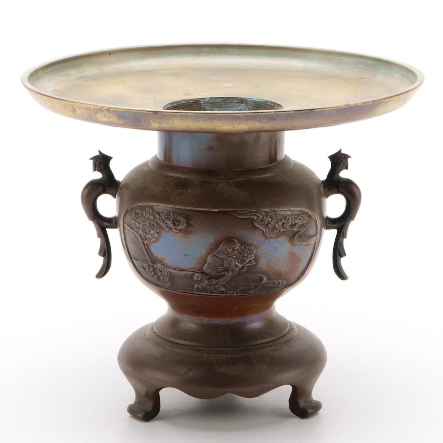 Japanese Bronze Tone Usubata Ikebana Vase with Landscape Relief